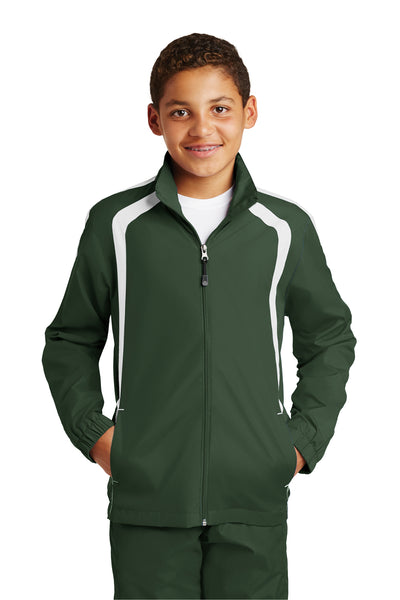 Sport-Tek YST60 Youth Water Resistant Full Zip Jacket Forest Green/White Front