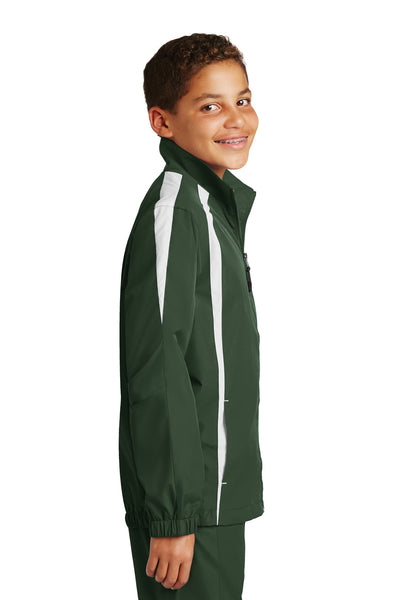 Sport-Tek YST60 Youth Water Resistant Full Zip Jacket Forest Green/White Side