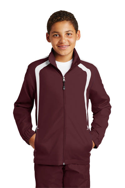 Sport-Tek YST60 Youth Water Resistant Full Zip Jacket Maroon/White Front