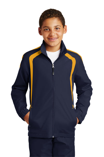 Sport-Tek YST60 Youth Water Resistant Full Zip Jacket Navy Blue/Gold Front