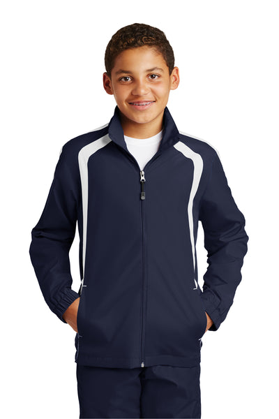 Sport-Tek YST60 Youth Water Resistant Full Zip Jacket Navy Blue/White Front