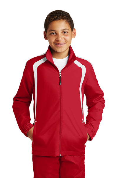 Sport-Tek YST60 Youth Water Resistant Full Zip Jacket Red/White Front