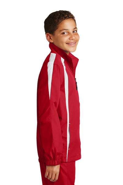 Sport-Tek YST60 Youth Water Resistant Full Zip Jacket Red/White Side
