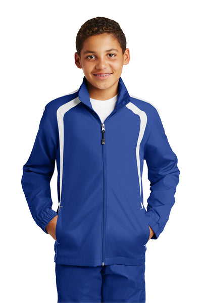 Sport-Tek YST60 Youth Water Resistant Full Zip Jacket Royal Blue/White Front