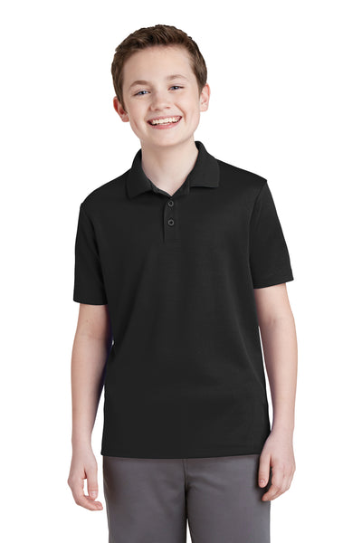 Sport-Tek YST640 Youth RacerMesh Moisture Wicking Short Sleeve Polo Shirt Black Front