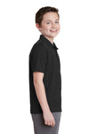 Sport-Tek YST640 Youth RacerMesh Moisture Wicking Short Sleeve Polo Shirt Black Side