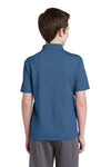 Sport-Tek YST640 Youth RacerMesh Moisture Wicking Short Sleeve Polo Shirt Dawn Blue Back
