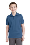 Sport-Tek YST640 Youth RacerMesh Moisture Wicking Short Sleeve Polo Shirt Dawn Blue Front