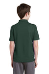 Sport-Tek YST640 Youth RacerMesh Moisture Wicking Short Sleeve Polo Shirt Forest Green Back