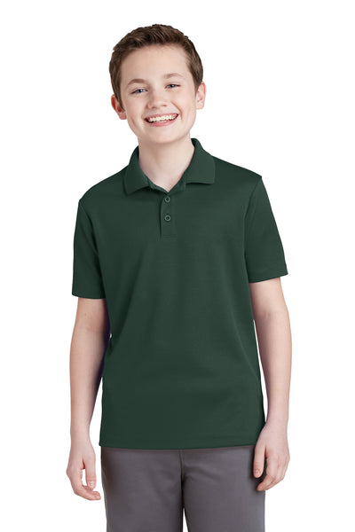 Sport-Tek YST640 Youth RacerMesh Moisture Wicking Short Sleeve Polo Shirt Forest Green Front