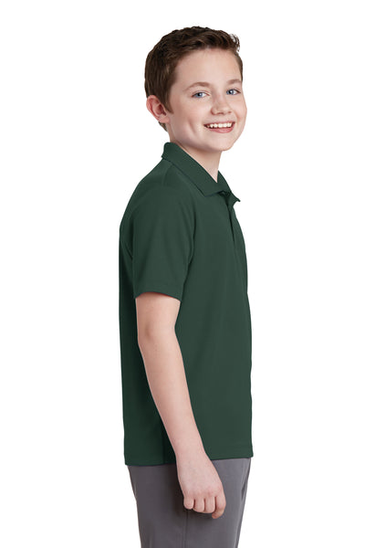 Sport-Tek YST640 Youth RacerMesh Moisture Wicking Short Sleeve Polo Shirt Forest Green Side
