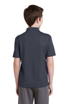 Sport-Tek YST640 Youth RacerMesh Moisture Wicking Short Sleeve Polo Shirt Graphite Grey Back