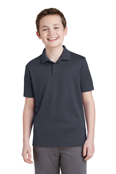 Sport-Tek YST640 Youth RacerMesh Moisture Wicking Short Sleeve Polo Shirt Graphite Grey Front
