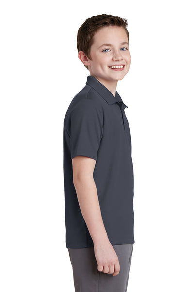 Sport-Tek YST640 Youth RacerMesh Moisture Wicking Short Sleeve Polo Shirt Graphite Grey Side