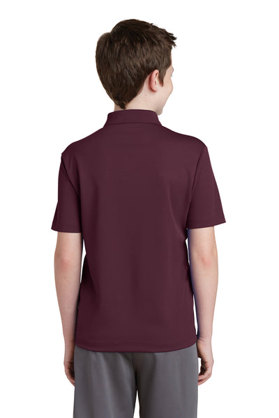 Sport-Tek YST640 Youth RacerMesh Moisture Wicking Short Sleeve Polo Shirt Maroon Back