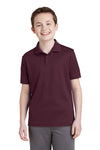 Sport-Tek YST640 Youth RacerMesh Moisture Wicking Short Sleeve Polo Shirt Maroon Front