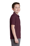 Sport-Tek YST640 Youth RacerMesh Moisture Wicking Short Sleeve Polo Shirt Maroon Side