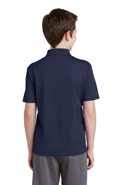 Sport-Tek YST640 Youth RacerMesh Moisture Wicking Short Sleeve Polo Shirt Navy Blue Back