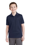 Sport-Tek YST640 Youth RacerMesh Moisture Wicking Short Sleeve Polo Shirt Navy Blue Front