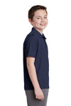 Sport-Tek YST640 Youth RacerMesh Moisture Wicking Short Sleeve Polo Shirt Navy Blue Side