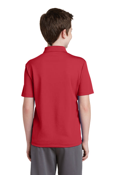 Sport-Tek YST640 Youth RacerMesh Moisture Wicking Short Sleeve Polo Shirt Red Back