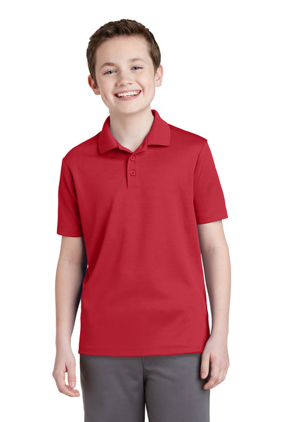 Sport-Tek YST640 Youth RacerMesh Moisture Wicking Short Sleeve Polo Shirt Red Front