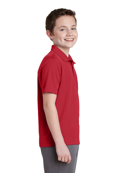 Sport-Tek YST640 Youth RacerMesh Moisture Wicking Short Sleeve Polo Shirt Red Side