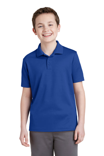 Sport-Tek YST640 Youth RacerMesh Moisture Wicking Short Sleeve Polo Shirt Royal Blue Front