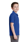 Sport-Tek YST640 Youth RacerMesh Moisture Wicking Short Sleeve Polo Shirt Royal Blue Side