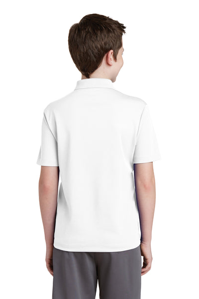Sport-Tek YST640 Youth RacerMesh Moisture Wicking Short Sleeve Polo Shirt White Back