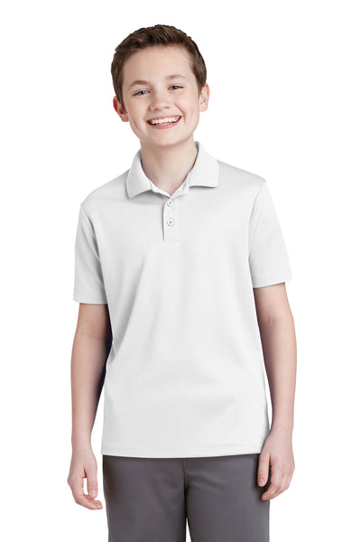 Sport-Tek YST640 Youth RacerMesh Moisture Wicking Short Sleeve Polo Shirt White Front