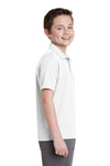 Sport-Tek YST640 Youth RacerMesh Moisture Wicking Short Sleeve Polo Shirt White Side