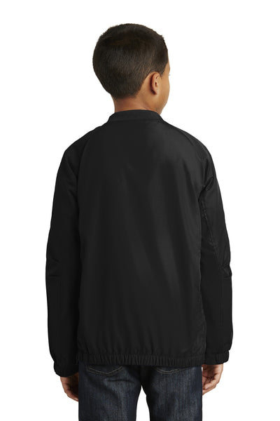 Sport-Tek YST72 Youth Water Resistant V-Neck Wind Jacket Black Back