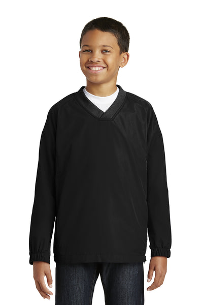 Sport-Tek YST72 Youth Water Resistant V-Neck Wind Jacket Black Front