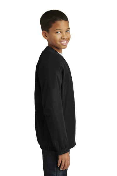 Sport-Tek YST72 Youth Water Resistant V-Neck Wind Jacket Black Side