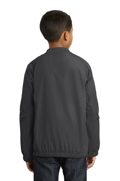 Sport-Tek YST72 Youth Water Resistant V-Neck Wind Jacket Graphite Grey Back