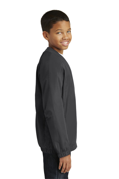 Sport-Tek YST72 Youth Water Resistant V-Neck Wind Jacket Graphite Grey Side