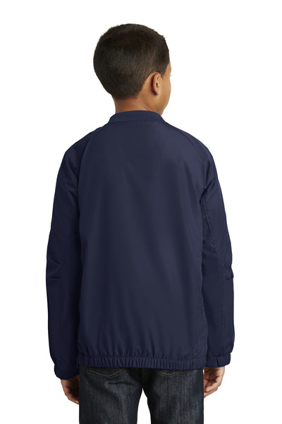 Sport-Tek YST72 Youth Water Resistant V-Neck Wind Jacket Navy Blue Back