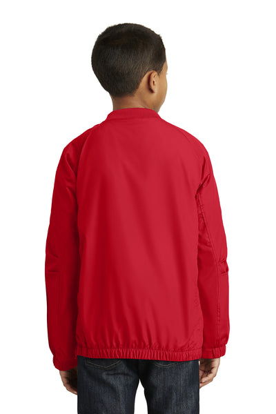 Sport-Tek YST72 Youth Water Resistant V-Neck Wind Jacket Red Back
