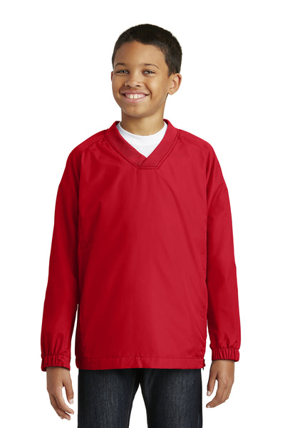 Sport-Tek YST72 Youth Water Resistant V-Neck Wind Jacket Red Front