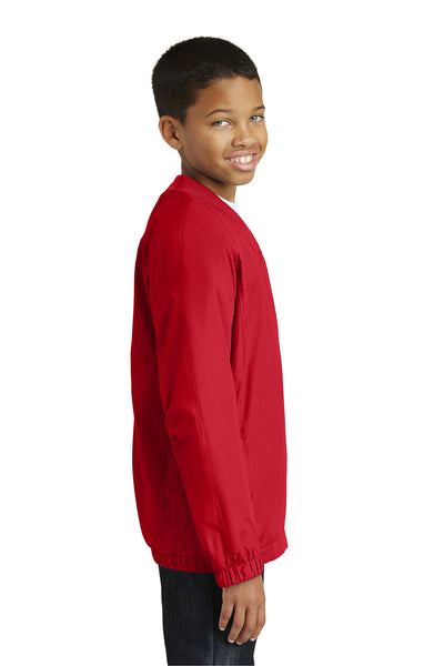Sport-Tek YST72 Youth Water Resistant V-Neck Wind Jacket Red Side