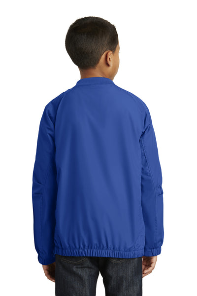 Sport-Tek YST72 Youth Water Resistant V-Neck Wind Jacket Royal Blue Back