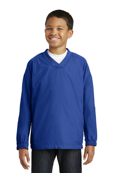 Sport-Tek YST72 Youth Water Resistant V-Neck Wind Jacket Royal Blue Front