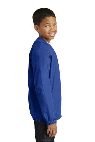 Sport-Tek YST72 Youth Water Resistant V-Neck Wind Jacket Royal Blue Side