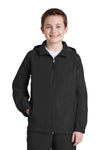 Sport-Tek YST73 Youth Water Resistant Full Zip Hooded Jacket Black Front