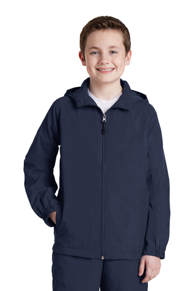 Sport-Tek YST73 Youth Water Resistant Full Zip Hooded Jacket Navy Blue Front