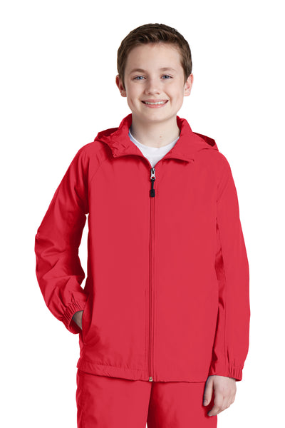 Sport-Tek YST73 Youth Water Resistant Full Zip Hooded Jacket Red Front