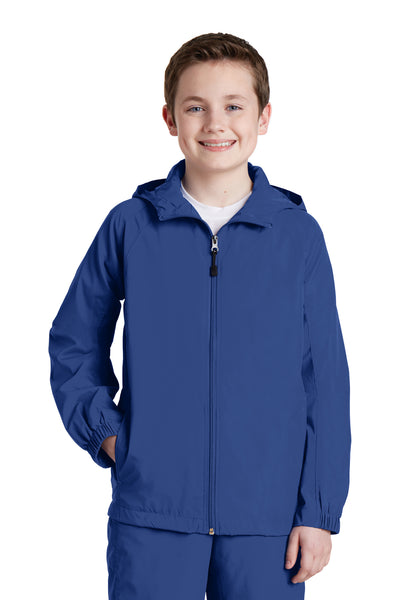 Sport-Tek YST73 Youth Water Resistant Full Zip Hooded Jacket Royal Blue Front