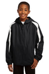 Sport-Tek YST81 Youth Full Zip Hooded Jacket Black Front