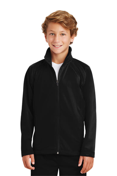 Sport-Tek YST90 Youth Full Zip Track Jacket Black Front
